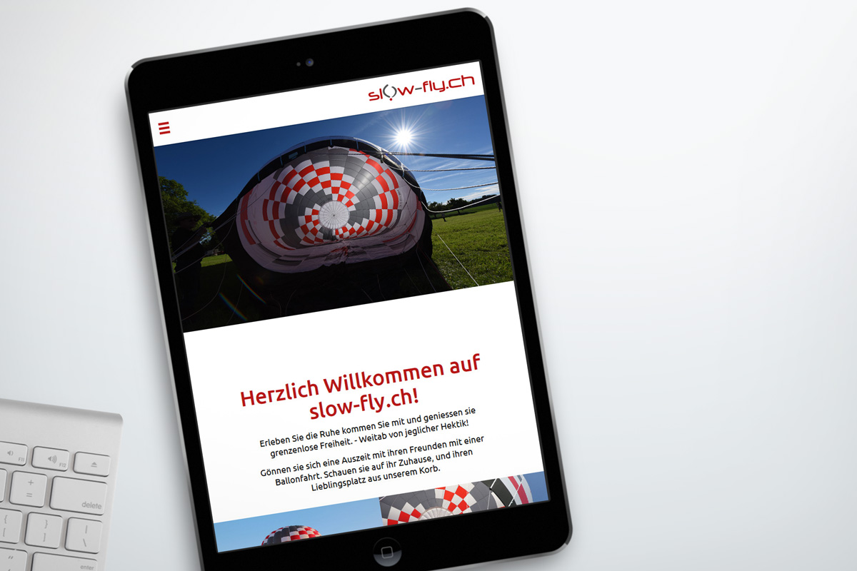 Referenz slow-fly.ch: Webseite auf Tablet